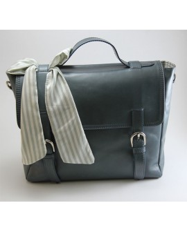 Leather blue messenger  bag for women