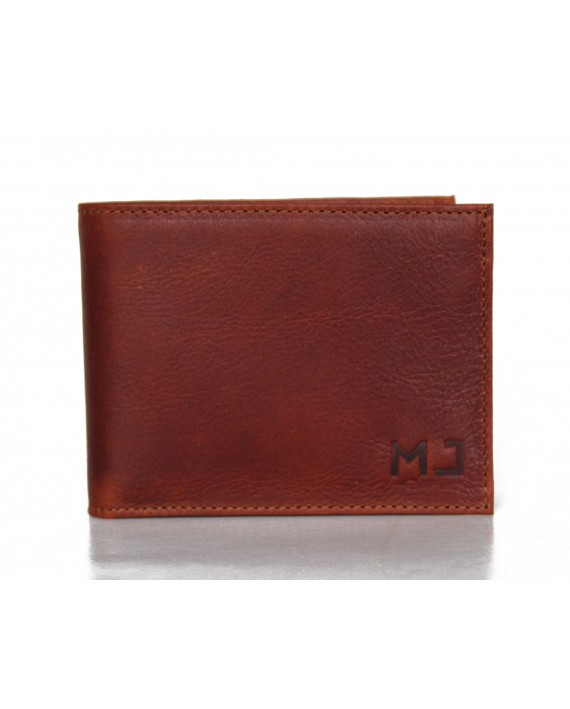 LEATHER WALLET FOR MEN - Brown vegetable leather