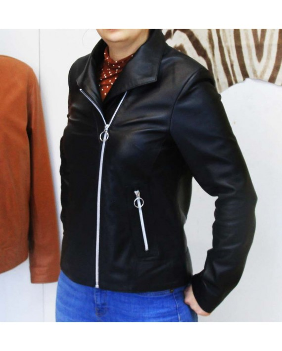 Julia- Jacket Perfecto en cuir véritable